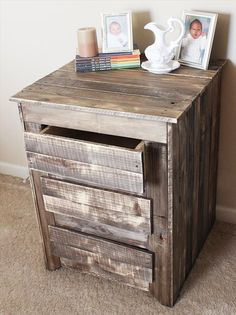 Diy Pallet Nightstand / Side Table With Drawers