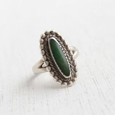 Vintage Sterling Silver Green Turquoise Ring - Size 6 Studded Semi Precious Stone Native American Style Jewelry / Bezel Set Oblong Oval