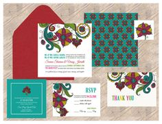 Indian Wedding Invitation Traditional Floral by InvitationShop, $1.25