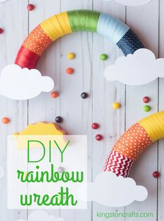 DIY Rainbow Ribbon Wreath - Kingston Crafts Looking for something to do with that leftover ribbon? Grab a hot glue gun and a foam wreath to create a DIY rainbow ribbon wreath - perfect for birthday parties, kids crafts, classroom decor and more. Rainbow Ribbon, Rainbow Paper, Rainbow Crafts, Rainbow Theme, Ribbon Wreath Tutorial, Diy Ribbon, Ribbon Wreaths, Door Wreaths, Floral Wreaths