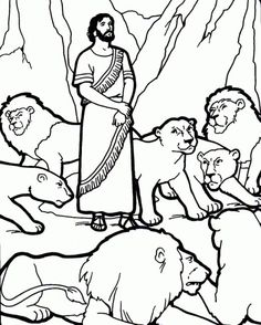 Daniel and the lions den coloring page   Bible - Coloring pages ...