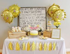 You Are My Sunshine 1st First Birthday Party Theme - Decor - Decoration - Cake Table - Dessert