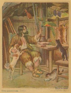 This is Be Kind to Animals Week and National Pet Week in the USA.  [Robinson Crusoe in his cabin with animal friends]