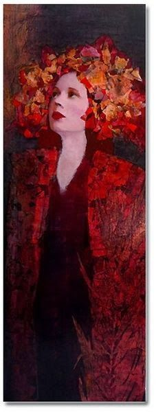 """Artodyssey"":by artist Richard Burlet. Richard Burlet was born in France in His art is inspired by Art Nouveau, especially Klimt. He works in oils and collage, including gold and silver leaf. Gustav Klimt, Richard Burlet, Portrait Art, Portraits, Figure Painting, Figurative Art, Mixed Media Art, Painting Inspiration, Female Art"
