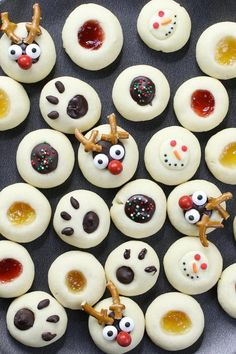 Thumbprint Cookies - the classic shortbread cookies with a variety of decorations including jam, snowman, reindeer, bear paw. Perfect treats and gifts for the holidays. and a million more ideas for flavor Christmas Food Gifts, Holiday Snacks, Christmas Desserts, Christmas Baking, Holiday Recipes, Cookies For Kids, Xmas Cookies, Raspberry Cookies, Sweets
