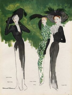 Illustration by Bernard Blossac, 1946 for fashions by Fath, Lafaurie, & Lelong