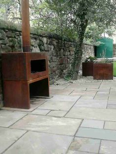 Adezz Corten Steel Garden Feature Fire Outdoor Heating - Corten burner and…