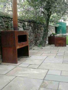 Adezz Corten Steel Garden Feature Fire Outdoor Heating - Corten burner and matching Corten planters!!