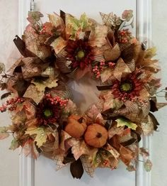 Fall Wreath, Thanksgiving Wreath, Harvest Wreath, Fall Deco Mesh Wreath, Fall Pumpkin Wreath, Front Door Wreath, Orange,Gold,Copper,Burgundy by SouthTXCreations on Etsy