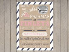 Pancake and Pajamas Invitation First Birthday Printable Vintage Typography Navy Pink Stripe