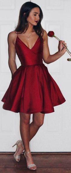 burgundy homecoming dress,2017 homecoming dress,short homecoming dresses, cute homecoming dress, simple homecoming dress, spaghetti straps homecoming dresses