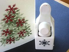 Christmas Tree card...Made with snowflake paper punch. #scrapbooking
