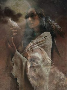 Dove, Moon, Indian woman