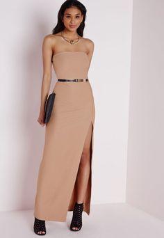 Crepe Front Split Bandeau Maxi Dress Camel - Dresses - Maxi Dresses - Missguided