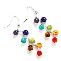 FREE Shipping - Chakra Reiki Healing  Drop Earrings