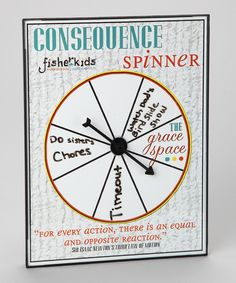 Consequence Spinner, kids get to spin to find out their consequence, and I LOVE the grace space!!