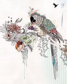 Parrot painting, Large Wall art, Animal print, Animal ink drawing, Illustration
