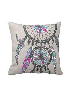 Dreamcatcher Pillow Cover Cotton and Burlap Pillow