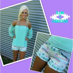 a67eecb03588a Mint off the Shoulder Top  34  Free Shipping  Amazing Aztec Shorts  36   Free Shipping  Purchase on instagram or Facebook Instagram   bar t boutique