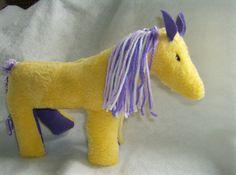 Handmade Yellow Pony, Horse, Plush Stuffed Animal, Child Safe. $18.00, via Etsy.
