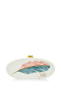 Feather Motif Oval Edie Acrylic Clutch by Edie Parker Now Available on Moda Operandi ♥༺❤༻♥