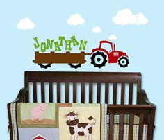 Tractor Name Wall Decal Nursery farm vinyl by ToodlesDecalStudio, $38.50