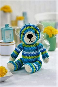I am just loving this teddy bear, just look at his innocent face, his black nose and deep jet black eyes. Also count on the various thread shades that are used especially to make it look more charming for your beloved kids.