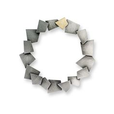 "Daphne Krinos at Patina Gallery. Brooch, Geometric, Oxidized Sterling Silver, 18 Karat Yellow Gold, 2.56"" diameter"