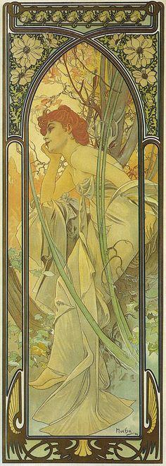 """1899 Tiderna av dagen affisch - """"Evening Kontemplation"""" litografi 107,7 x 39 cm © Alphonse Mucha Estate-Artister Rights Society (ARS), New York-ADAGP, Paris"""