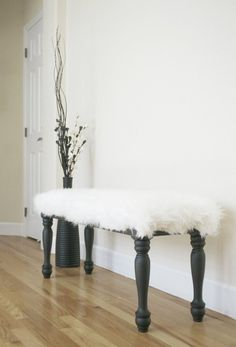 Faux Sheepskin Bench Makeover | Lemon Peel