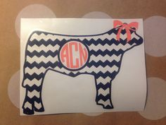 Chevron Cow with Round Monogram Vinyl by CarolinaLineBoutique