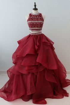 Stylish burgundy organza two pieces long ruffles beaded prom gown, long open back shinning evening