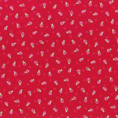 Flower Sugar Spring 2014 Pink Rosebuds on Red  Cotton Fabric  by Lecien 30971-30