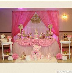 Adornos para mesa de mini Baby Shower Princess, Baby Princess, Princess Birthday, Girl Baby Shower Decorations, Baby Decor, Baby Shower Themes, Fairy Birthday Party, 1st Birthday Girls, Cradle Ceremony