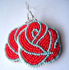 NATIVE AMERICAN BEADWORK-Mother's Day Coral Rose Earrings. $30.00, via Etsy.