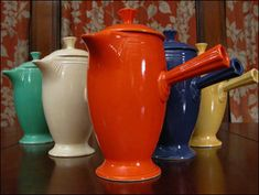 Coffee Pots in Original Colors  In the 1950's, the original Blue (cobalt), the original Green (light green), and the original Old Ivory (yellowish cream) were discontinued and were replaced by Rose (dusty brownish), Gray (medium), Forest (dark green), and Chartreuse (bright yellowish green).