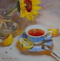 """Tea and Lemons"" - Original Fine Art for Sale - © Elena Katsyura"
