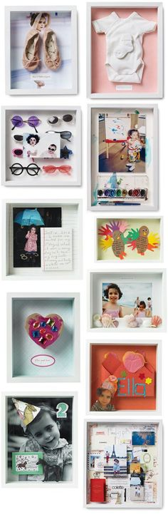 Shadow boxes of favorite memories {martha stewart}