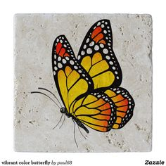 Shop vibrant color butterfly trivet created by Personalize it with photos & text or purchase as is! Butterfly Drawing, Blue Butterfly, Butterfly Painting Easy, Butterfly Clip Art, Easy Canvas Art, Fence Art, Guache, Pictures To Paint, Rock Art