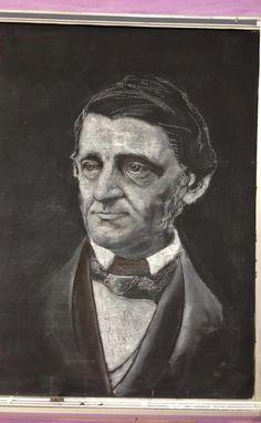 John Keeney-8th grade teacher- chalkboard drawing of Emerson.