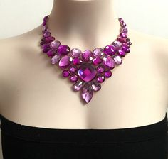amethyst purple and light purple rhinestone bib por BienBijou