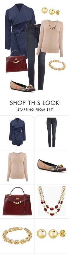 """""""Fall Outfit"""" by fashion-film-fun ❤ liked on Polyvore featuring Paige Denim, Oasis, Burberry, Hermès, Talbots, Calvin Klein and BERRICLE"""