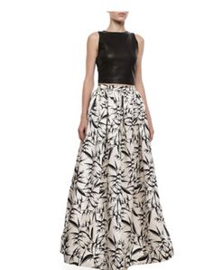 Alice + Olivia leather crop top and high waisted skirt
