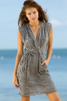 Just in! Letarte Shawl Collar Belted Dress in gray