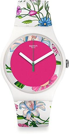 Swatch Watch Swatch New Gent SUOW127 FIORINELLA Swiss Made watch, white plastic case, polishable plastic glass, water resista, t to 3 bar, diameter (without crown) 41 mm, height 10 mm, silicone strap with printed flowe (Barcode EAN = 7610522689398) http://www.comparestoreprices.co.uk/december-2016-5/swatch-watch-swatch-new-gent-suow127-fiorinella.asp