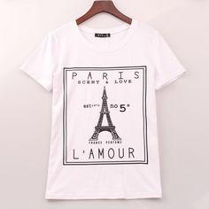 2016 Plus Size T-shirt Women Eiffel Tower Printed Printing T Shirt Women Tops Tee Shirt Femme Casual Fashion Woman Clothing
