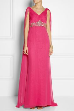 Notte by Marchesa|Cape-back embellished silk-chiffon gown|NET-A-PORTER.COM