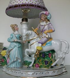 French Figurine LampMusketeer on HorseWoman w/ by LaCheriMaison, $95.00