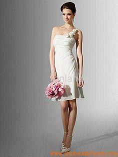 een schouder schede chiffon korte bruidsjurk