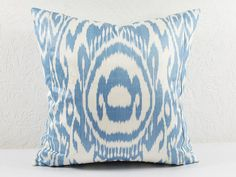 Set of 2 ikat pillows, blue Pillow- Decorative blue pillow covers - accent pillow A510-1AB3